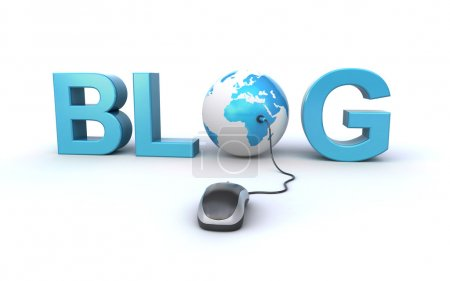 Photo for Blog concept with a computer mouse, world globe and 3d blog text - Royalty Free Image