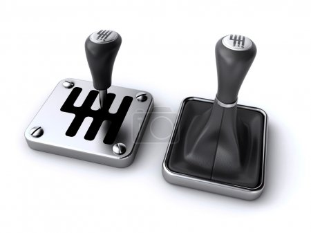 Two gear sticks on the white background (3d render...