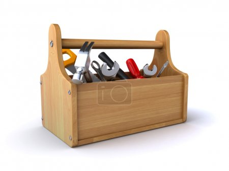 Photo for Wooden toolbox with tools on the white background (3d render) - Royalty Free Image