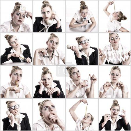 Photo pour Composition de 16 images d'une femme jeune entreprise qui s'ennuie au bureau. - image libre de droit