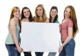 Girls with billboard