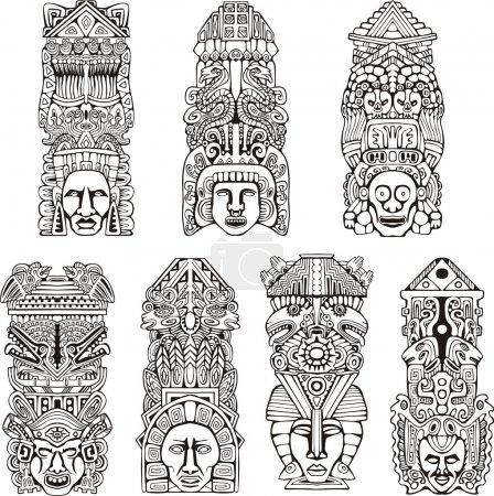Aztec totem poles