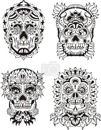 Illustration for Floral ornamental skulls. Set of black and white vector illustrations. - Royalty Free Image