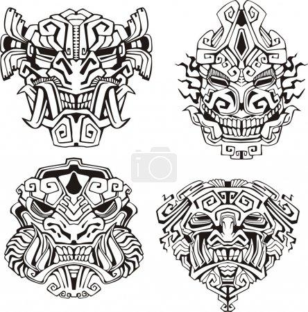Photo pour Masques totémiques de monstre aztèque. Ensemble d'illustrations vectorielles en noir et blanc . - image libre de droit