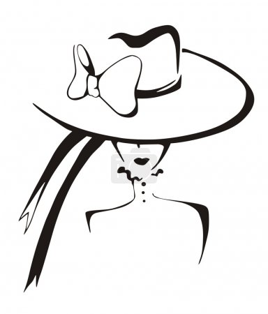 Sketch of elegant woman in hat