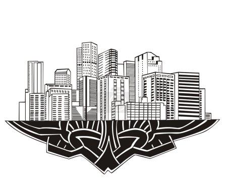 Illustration pour Denver, commandant Skyline. Illustration vectorielle noir et blanc EPS 8 . - image libre de droit