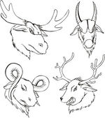 Agresivní hlavy jelenů a koz