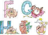 Funny childish letters FGHIJ