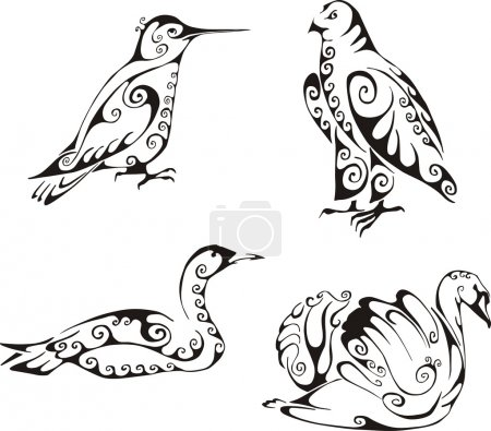 Illustration for Birds in tribal style. Set of black and white vector illustrations. Tattoos. - Royalty Free Image