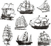 Black and white sketches of sailing ships Set of vector illustrations