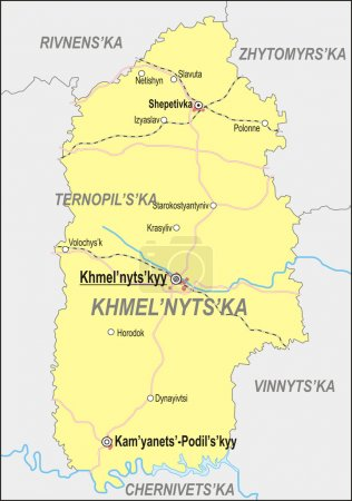 Map of Khmelnytskyi Oblast with major cities and r...