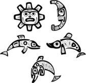 Native shoshone tribal drawings Fish sun moon