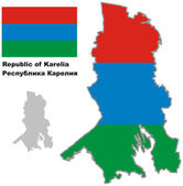 outline map of Karelia with flag