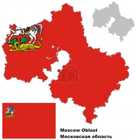 outline map of Moscow Oblast with flag