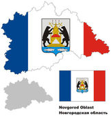 Outline map of Novgorod Oblast with flag Regions of Russia Vector illustration