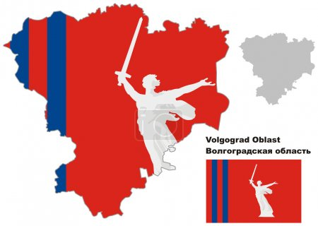 outline map of Volgograd Oblast with flag