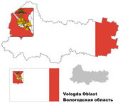 Outline map of Vologda Oblast with flag Regions of Russia Vector illustration