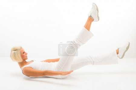 Woman exercise abdomen muscle white fitness