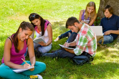 Photo for Students sitting in park studying reading writing teens campus schoolyard - Royalty Free Image