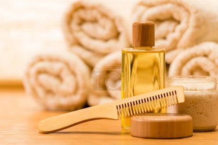 Spa body care products wooden hair comb