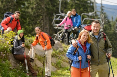 Hikers and cyclists on summer vacation