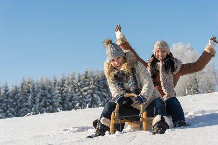 Photo pour Deux copines luge descente en hiver ensoleillé neige traîneau en bois - image libre de droit