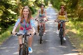 Three female friends riding bikes in park