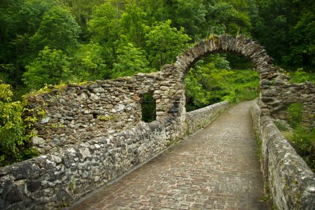 Ruines of old bridge near Foix, France