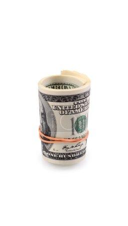 Photo pour Paquets de dollars avec un élastique isolé sur un fond blanc - image libre de droit