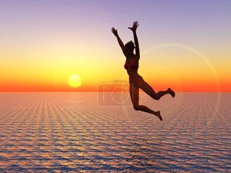 Photo pour Je crois que je peux voler, jeune femme sexy sauts dans l'océan, un symbole de courage, confiance en soi et succès. Je peux le faire. - image libre de droit