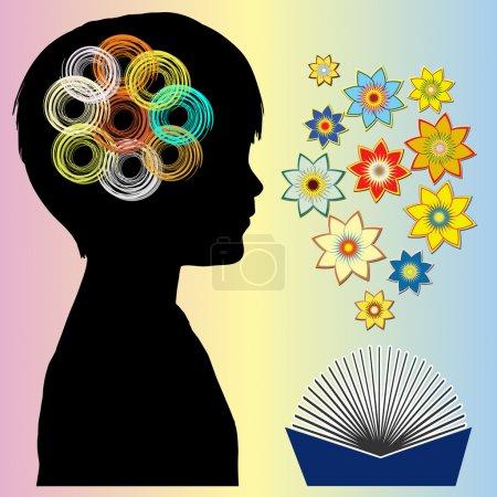 Photo pour Livres d'histoires développent fantaisie vive, puissance de cerveau, imagination - image libre de droit