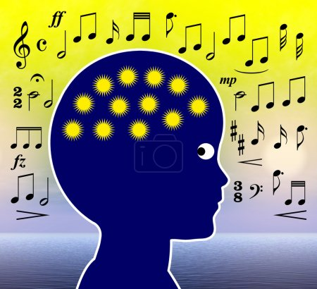 Photo pour Écouter de la musique ou jouer de la musique développe les cellules cérébrales, l'intelligence et la créativité - image libre de droit