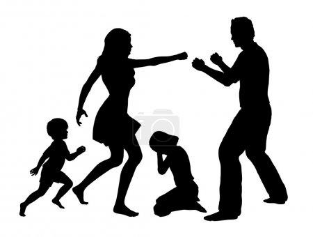 Photo pour Signe de concept pour violence conjugale avec enfants comme principales victimes - image libre de droit