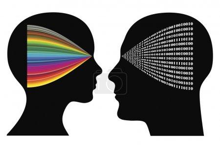 Photo pour Psychologie perceptuelle : homme et femme peuvent avoir différentes perspectives et perceptions - image libre de droit