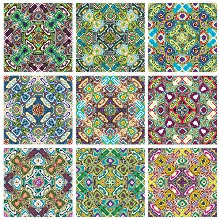 Illustration for Set of modern and trendy textile pattern in vivid and bright colors, seamless - Royalty Free Image