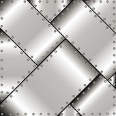 Background of polished metal plates with rivets