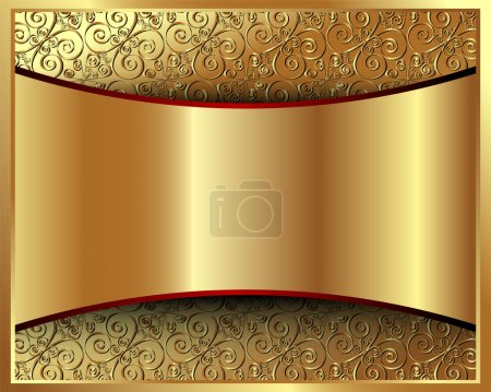 Illustration for Metallic gold background with pattern and space for text - Royalty Free Image