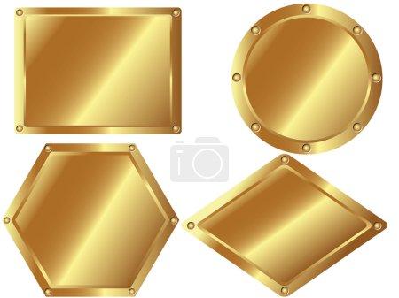 Illustration pour Un ensemble de plaques métalliques dorées sur fond blanc - image libre de droit