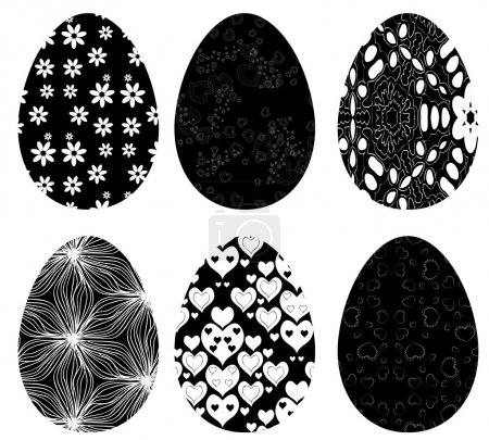 Illustration for Monochrome set of Easter eggs with pattern on white background - Royalty Free Image