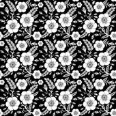 Seamless monochrome pattern with wild roses for your design