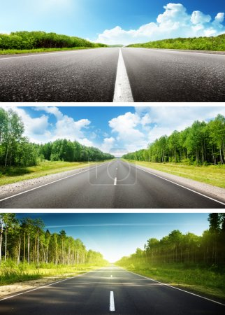 Photo for Sunny day and road set of banners - Royalty Free Image