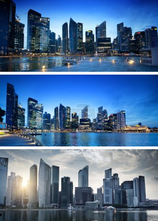 Banners of sunset in Singapore