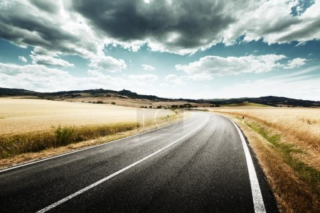 Tuscany road in sunny summer day