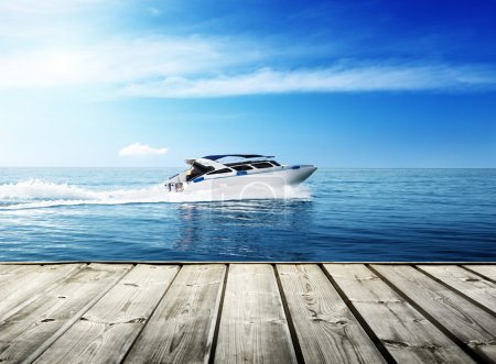 speed boat in tropical sea