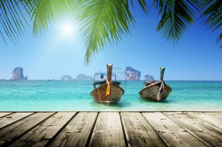 Photo for Beach, boats, Andaman Sea, Thailand - Royalty Free Image