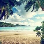Sunset on the beach Takamaka, Mahe island, Seychel...