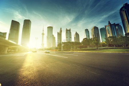 Photo for Road in shanghai lujiazui financial center - Royalty Free Image
