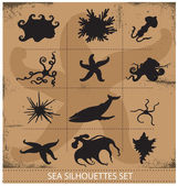 Sea animals silhouettes underwater symbols set