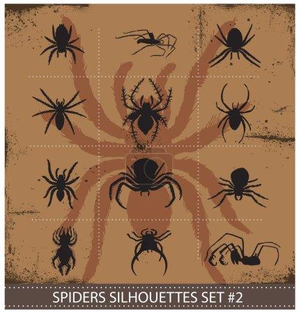 Halloween spiders silhouettes symbols set