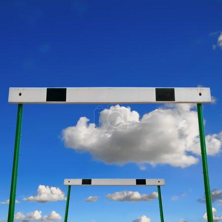 Low angle view hurdles